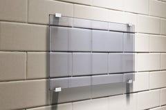 Glassy Signboard On Beige Brick Wall Mock Up Stock Illustration
