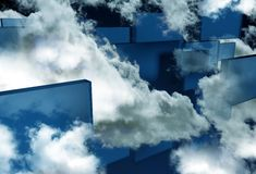 Glassy Sky Blocks. Abstract Art Illustration. Blue Glass Blocks Flying Between Clouds. Fantasy Theme Stock Photos