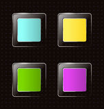 Glassy square icons on black Stock Photos