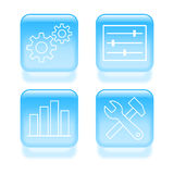 Glassy system settings icons. Royalty Free Stock Photography