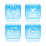 Glassy time icons Stock Image