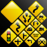 Glassy warning road signs. Make your own glossy glassy web 2.0 warning danger road signs or use design elements/icons from the included elements (left turn Royalty Free Stock Photo