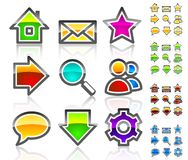 Glassy web icons. Colorful variant. Crystal series Stock Photos
