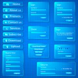Glassy Web Template. Illustration of set of web templates with login,registration and sign up forms in glassy look Royalty Free Stock Image