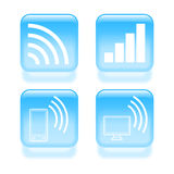 Glassy wireless communications icons. Set of glassy wireless communications icons. Vector illustration Stock Photography