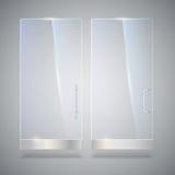 Glastür mit Reflexion und Schatten, auf grauem Hintergrund Lizenzfreies Stockbild