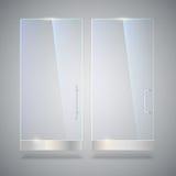 Glastür mit Reflexion und Schatten, auf grauem Hintergrund Abbildung des Vektor 3d Transparente Glastür, für Stockfotografie