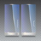 Glastür mit Reflexion und Schatten, auf transparentem Hintergrund Abbildung des Vektor 3d Transparentes Glas Lizenzfreies Stockfoto