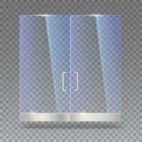 Glastür mit Reflexion und Schatten, auf transparentem Hintergrund Abbildung des Vektor 3d Transparentes Glas Lizenzfreies Stockbild