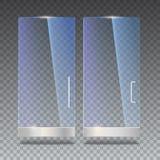 Glastür mit Reflexion und Schatten, auf transparentem Hintergrund Abbildung des Vektor 3d Transparentes Glas Stockfoto