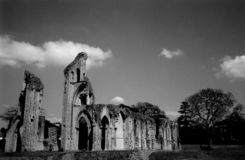 Glastonbury abbey. Ruined building ancient black and white Royalty Free Stock Photo