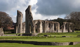 Glastonbury Abbey Ruins and grounds stock image
