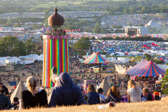 Glastonbury Festival from the Hill above the Park Stage 2015 stock photo