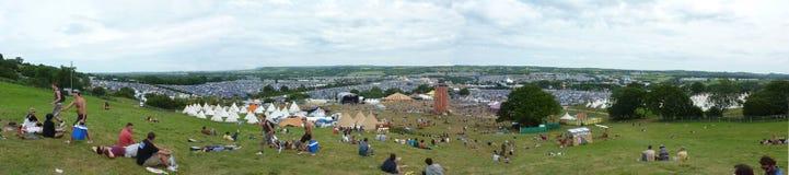 glastonbury panoramalokal Arkivfoton