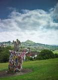 The Glastonbury Thorn. Tree atop Wearyall Hill with the Tor in the distance Royalty Free Stock Photos