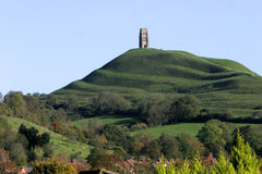 Glastonbury Tor. Looking up the hill to Glastonbury Tor a Historic Somerset landmark Stock Images