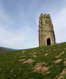 Glastonbury tor church ruins somerset uk. Ruins of St. Michael's Tower at the top of glastonbury tor in somerset england Stock Photography