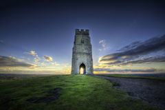 Glastonbury Tor. Is a hill at Glastonbury in the English county of Somerset, topped by the roofless St Michael's Tower Royalty Free Stock Photos