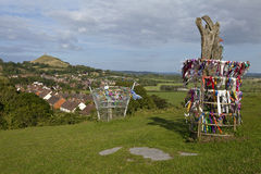 Glastonbury Tor and the Holy Glastonbury Thorn Stock Photos
