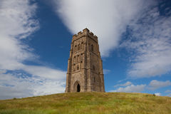 Glastonbury Tor located on a windy hill in Somerset. The historic Glastonbury Tor in Somerset, England, United Kingdom (UK Royalty Free Stock Image