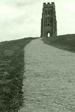 Glastonbury Tor. Path leading up to Glastonbury Tor overlooking the ancient town of Glastonbury in Britain Royalty Free Stock Image