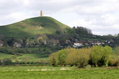 Glastonbury Tor, Somerset. The famous landmark associated with Arthurian legend in the rural heart of England Stock Images