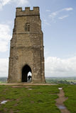Glastonbury Tor and St Michael's Church Royalty Free Stock Photography