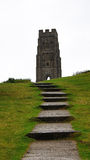Glastonbury tor tower and stairs Stock Photos