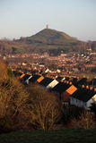 Glastonbury Tor and Town. Glastonbury tor and the town of Glastonbury, Somerset, England, UK Royalty Free Stock Photography
