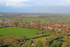 Glastonbury town in Somerset, England. Glastonbury town in the Somerset levels, England Royalty Free Stock Photography