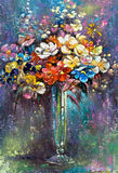 Glasvase mit Blumen Stockfotos