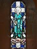 Glasvenster met Heilige Andrew en het Kruis royalty-vrije stock fotografie
