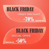 Glasverkaufstag, -ausweise, -aufkleber oder -fahne für Black Friday auf rotem Hintergrund Vektorillustration für Feiertags-Sammlu Stockfotografie
