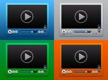 Glasvideo-player für Netz auf Farbhintergrund Stockfotos