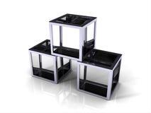 Glaswürfel 3D mit Metallrand lizenzfreie abbildung