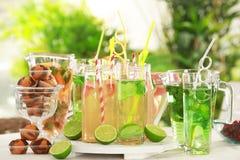 Glaswaren mit verschiedenen Arten der Limonade Lizenzfreie Stockbilder