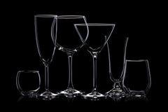 Glaswarenschattenbilder auf Schwarzem stockfotografie
