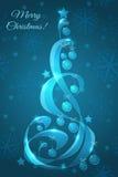 Glasweihnachtsbaum mit Weihnachtsbällen Lizenzfreies Stockbild