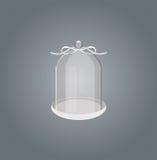 Glaswerk met wit lint op een grijze achtergrond Stock Fotografie