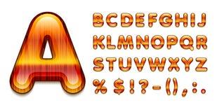 glat alfabet 3d i dyrt trä för stilar med dekorativ färg vektor illustrationer