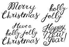 Glat jul, lyckligt nytt år, glat berömcitationstecken för järnek Royaltyfria Bilder