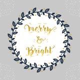 Glat & ljust marinblått blom- för cirkelgränsgarnering emblem för jul och för ferie royaltyfri illustrationer