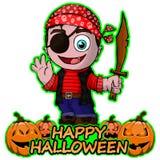 Glat piratkopiera önska lyckliga halloween på isolerad vit bakgrund Arkivbild