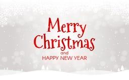 glatt julbegrepp lyckligt nytt år för kort Xmas-landskap med snö, bokeh och ljus Vintermall för rengöringsduk eller stock illustrationer