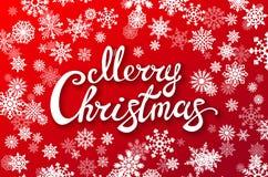Glatt märka för jul Julkalligrafi på röd bakgrund med vita snöflingor letters amerikansk för färgexplosionen för kortet 3d ferie  Royaltyfri Foto