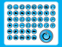 Glatte blaue Ikonen Lizenzfreie Stockfotografie