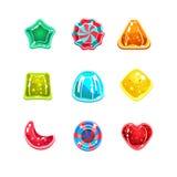 Glatte bunte Süßigkeiten von verschiedenen Formen Stockfotos