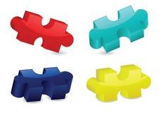 Glatte dreidimensionale Puzzlespiel-Stücke Lizenzfreies Stockfoto