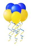 Glatte gelbe und blaue Ballone stilisierten Flagge von Ukraine Lizenzfreie Stockbilder