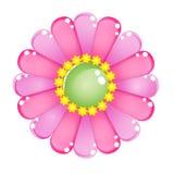 Glatte Geleeikone des Blumenfarbrosas Lizenzfreie Stockbilder